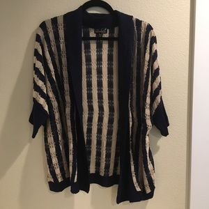 Questions by Say What navy cream knit cardigan L